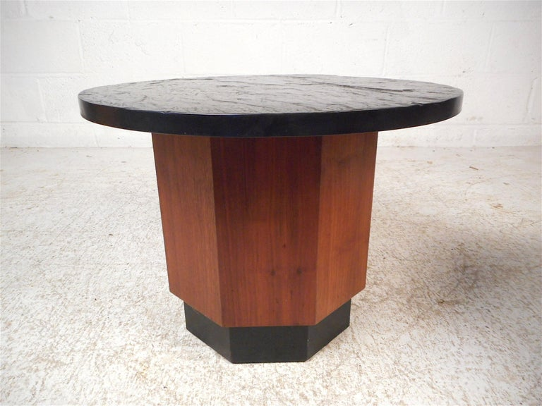 Mid-Century Modern Pair of Petite Midcentury Slate Top Tables after Fred Kemp For Sale