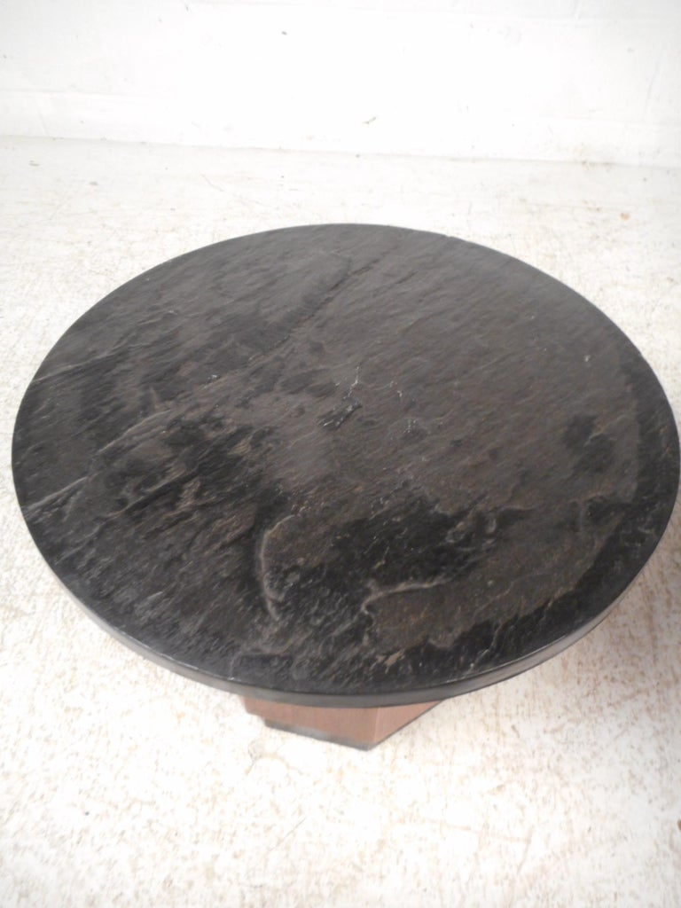 20th Century Pair of Petite Midcentury Slate Top Tables after Fred Kemp For Sale