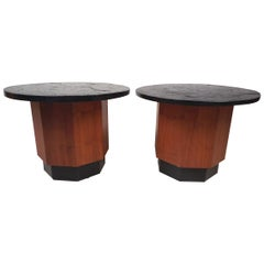 Pair of Petite Midcentury Slate Top Tables after Fred Kemp