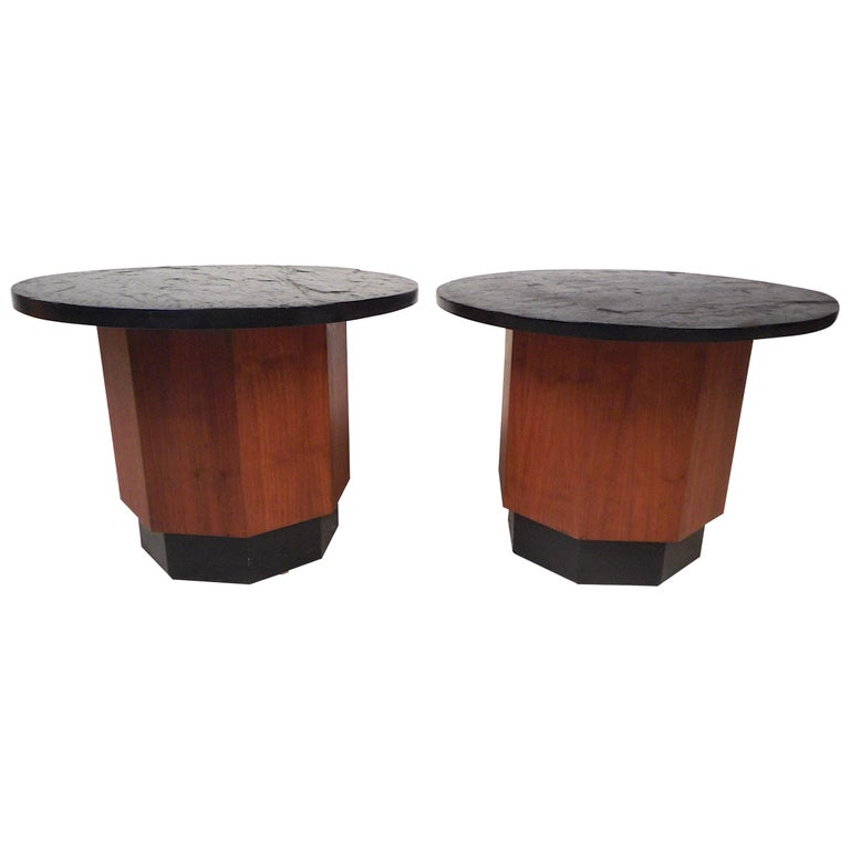 Pair of Petite Midcentury Slate Top Tables after Fred Kemp For Sale