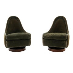 Pair Petite Tilt Swivel Chairs by Milo Baughman for Thayer Coggin, Both Signed