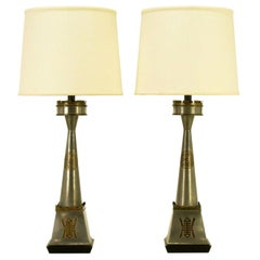 Pair Pewter and Brass Asian Inspired Table Lamps
