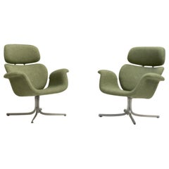 Pair of Pierre Paulin F551 Big Tulip Lounge Chairs Artifort 1960s New Upholstery