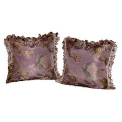Pillows Made of French Silk Brocade with Scalamandre Silk Tassel Trimming, Pair
