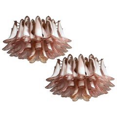 Pair of Pink Petal Chandeliers Ceiling Light, Murano