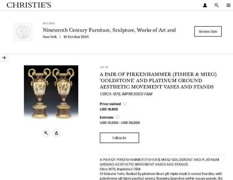 European Pair of Pirkenhammer Porcelain Aesthetic Gold Encrusted Dragon Vases, circa 1880 For Sale
