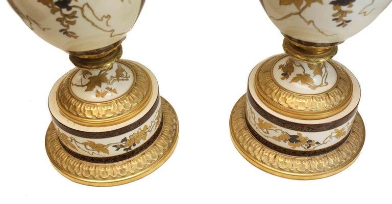 Pair of Pirkenhammer Porcelain Aesthetic Gold Encrusted Dragon Vases, circa 1880 For Sale 2