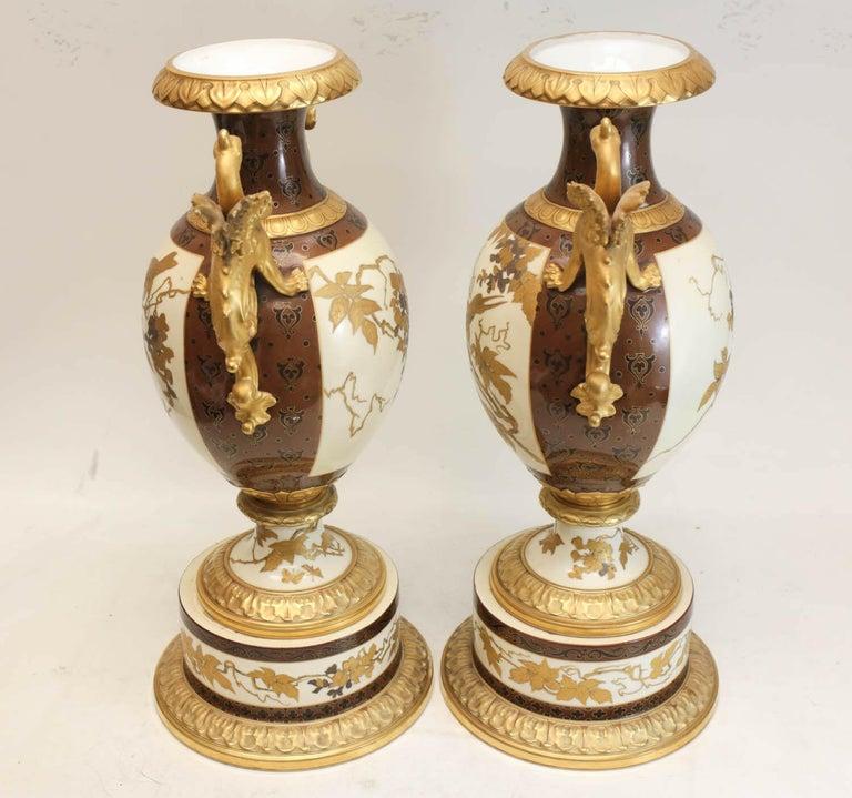 Pair of Pirkenhammer Porcelain Aesthetic Gold Encrusted Dragon Vases, circa 1880 For Sale 3