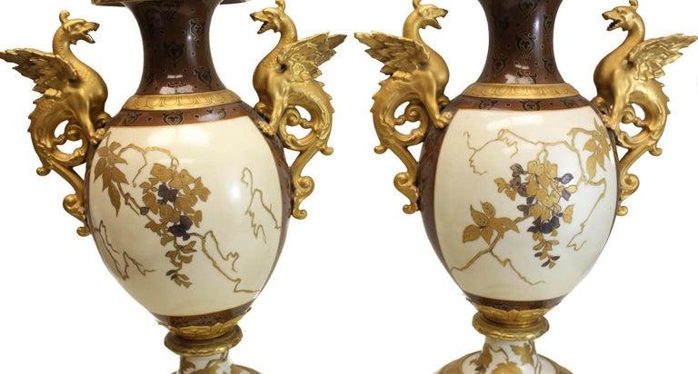Pair of Pirkenhammer Porcelain Aesthetic Gold Encrusted Dragon Vases, circa 1880 For Sale 4