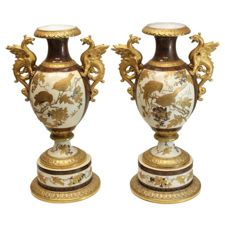 Pair of Pirkenhammer Porcelain Aesthetic Gold Encrusted Dragon Vases, circa 1880 For Sale