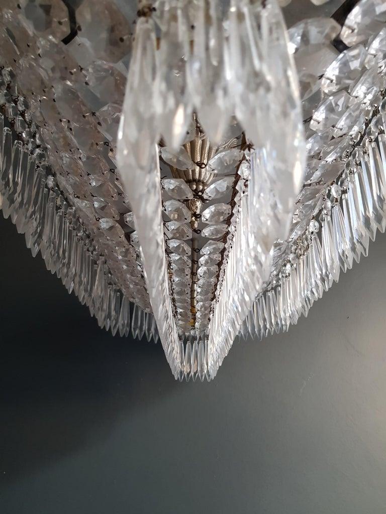Plafonnier Kristall Kronleuchter Messing Lustre Deckenlampe Antiker Jugendstil Paar 10