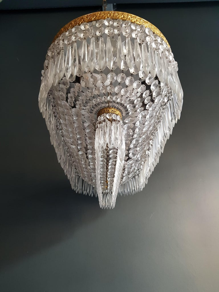 Plafonnier Kristall Kronleuchter Messing Lustre Deckenlampe Antiker Jugendstil Paar 3