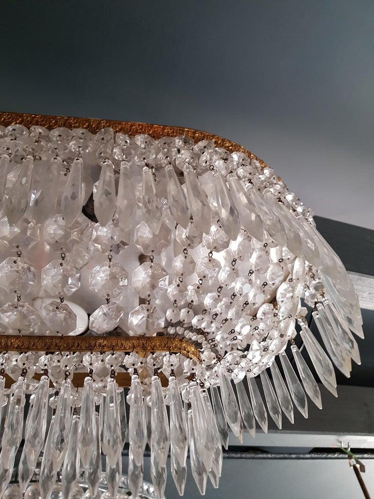 Plafonnier Kristall Kronleuchter Messing Lustre Deckenlampe Antiker Jugendstil Paar 4