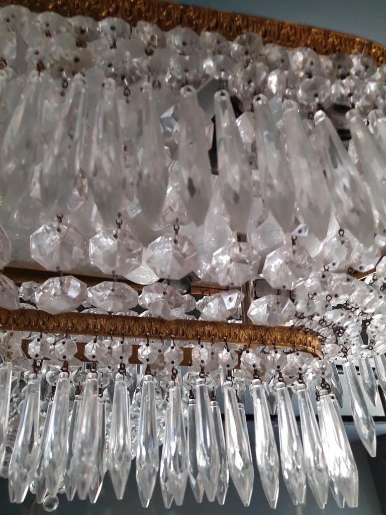 Plafonnier Kristall Kronleuchter Messing Lustre Deckenlampe Antiker Jugendstil Paar 5