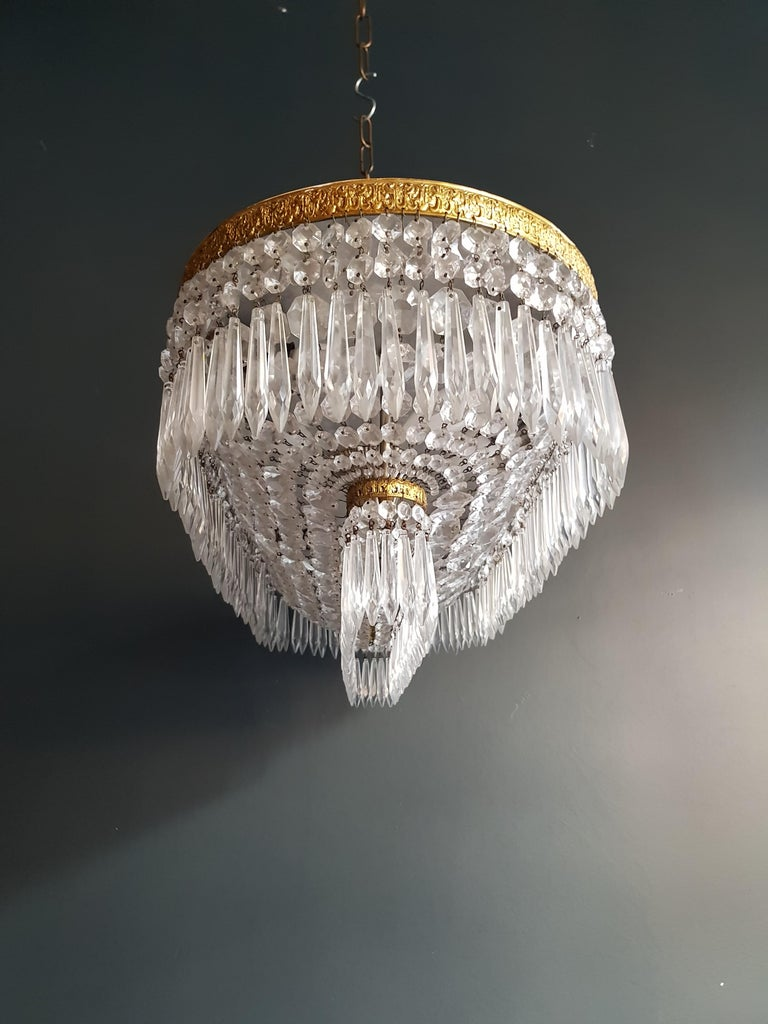 Plafonnier Kristall Kronleuchter Messing Lustre Deckenlampe Antiker Jugendstil Paar 7