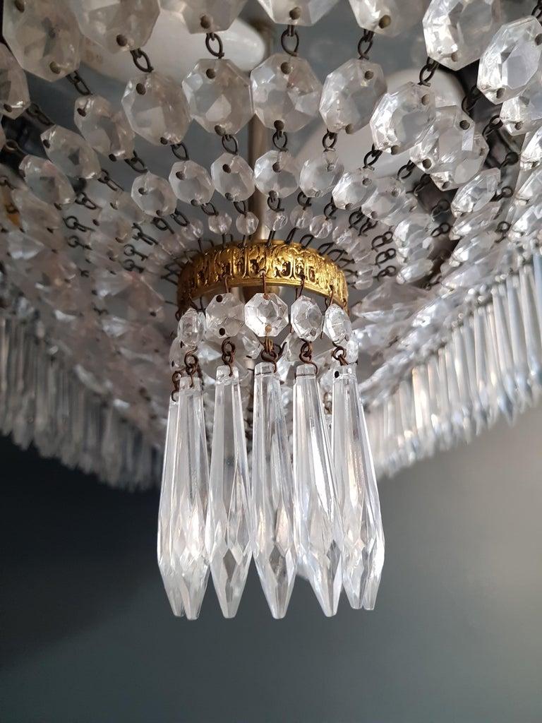 Plafonnier Kristall Kronleuchter Messing Lustre Deckenlampe Antiker Jugendstil Paar 8