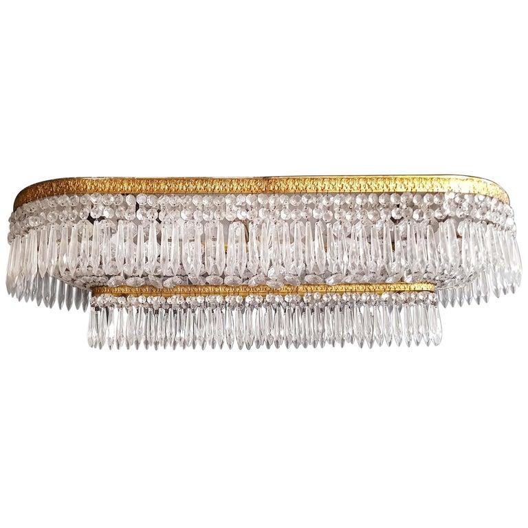 Plafonnier Kristall Kronleuchter Messing Lustre Deckenlampe Antiker Jugendstil Paar 1