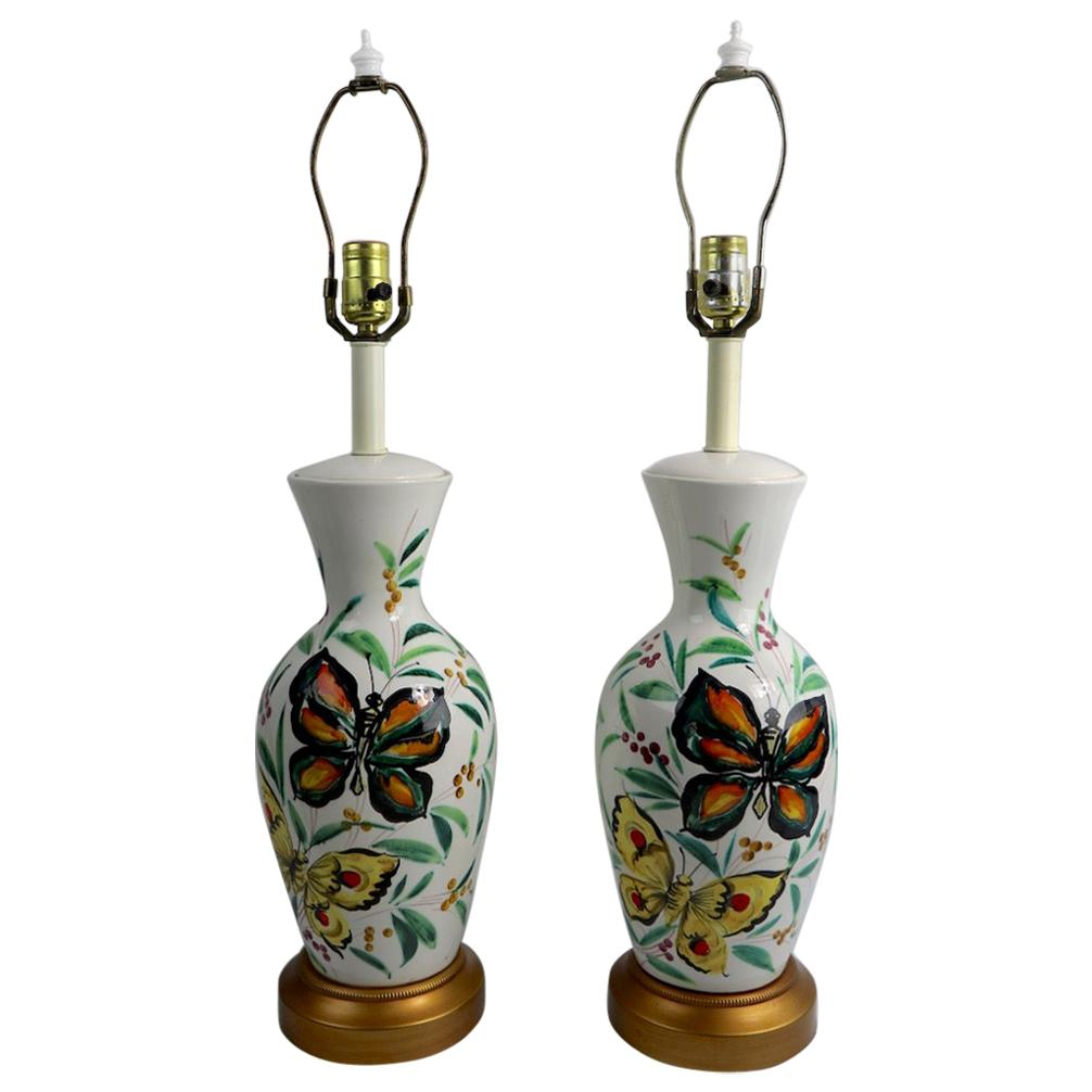 Playful Pair of  Porcelain Table Lamps with Butterflies