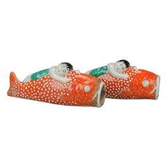 Pair of Pocket Wall Vases in Koi Carp Fish Shape Antique ca 1900 Japanese Kutani