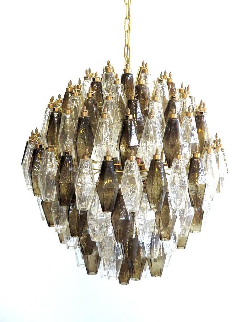 Poliedri Candelier, Trasparent and Smoked Glass Carlo Scarpa Style, Murano, Pair 4