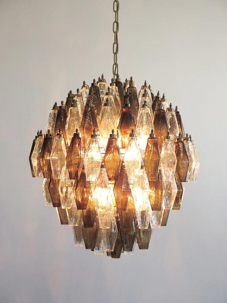 Poliedri Candelier, Trasparent and Smoked Glass Carlo Scarpa Style, Murano, Pair 6