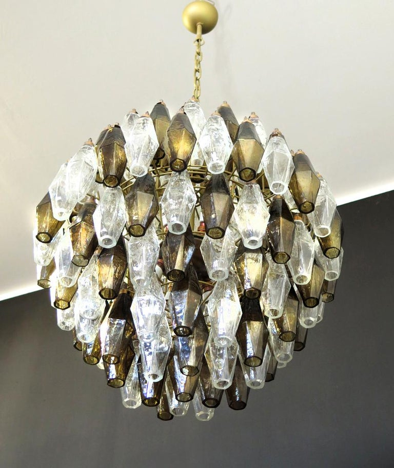 Poliedri Candelier, Trasparent and Smoked Glass Carlo Scarpa Style, Murano, Pair In Excellent Condition In Budapest, HU