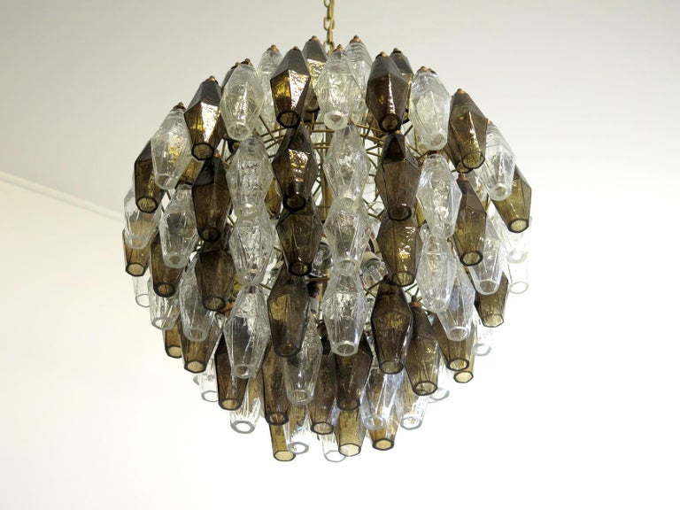 Poliedri Candelier, Trasparent and Smoked Glass Carlo Scarpa Style, Murano, Pair 2