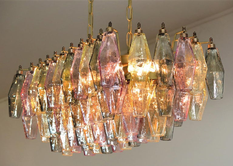 Elegant Italian chandelier made from 84 beautiful Murano multicolored glasses