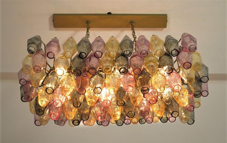 Italian Pair of Poliedri Candeliers Carlo Scarpa Style, 84 Multicolored Glasses, Murano