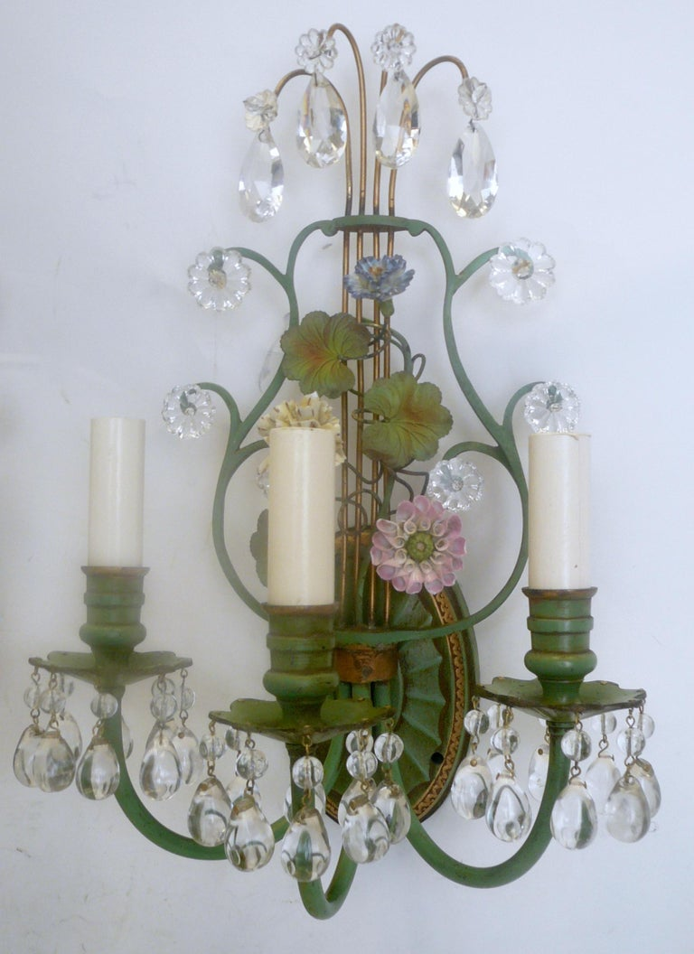 French Pair of Polychrome Enameled Bronze and Porcelain Flower Lyre Form Sconces For Sale