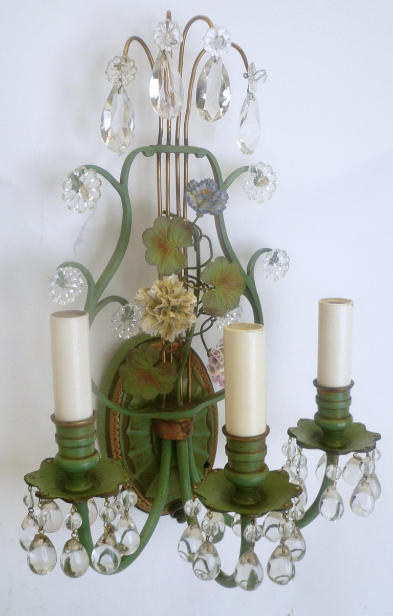 Pair of Polychrome Enameled Bronze and Porcelain Flower Lyre Form Sconces In Good Condition For Sale In Pittsburgh, PA