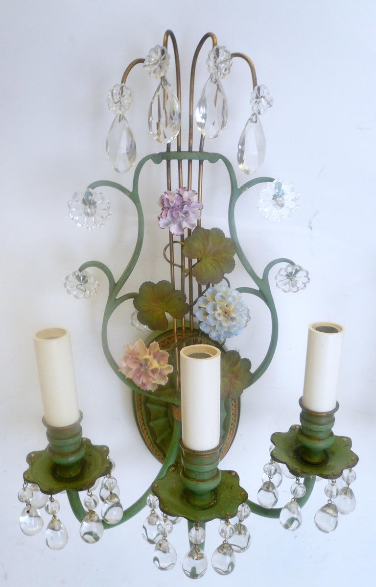 Pair of Polychrome Enameled Bronze and Porcelain Flower Lyre Form Sconces For Sale 1