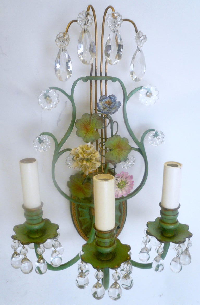 Pair of Polychrome Enameled Bronze and Porcelain Flower Lyre Form Sconces For Sale 2