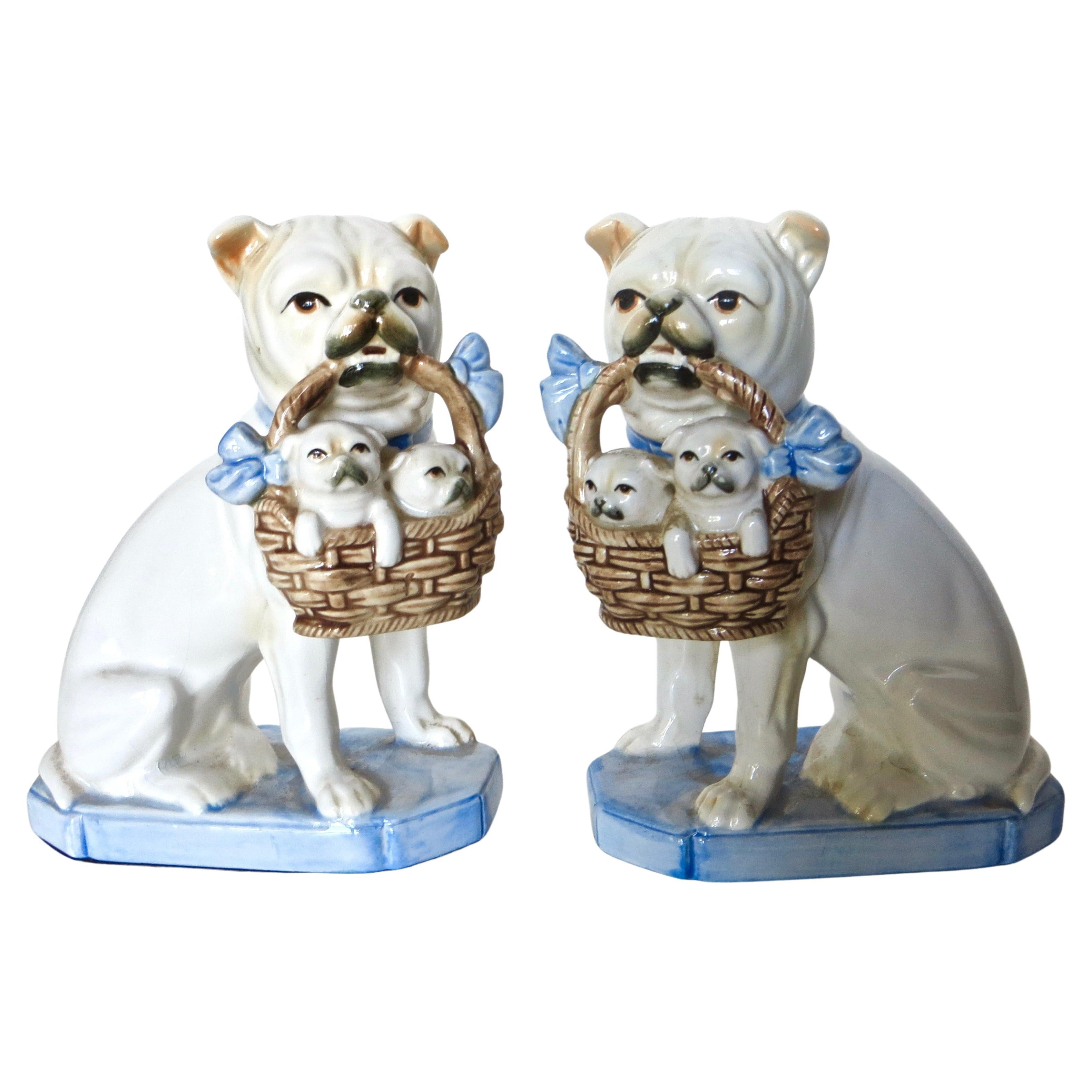 """Pair Porcelain """"Bulldogs with Puppies"""" by Fitz and Floyd Co., American"""