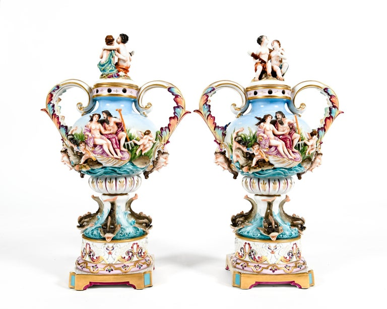 Pair Porcelain Covered Urns / Decorative Pieces For Sale 8