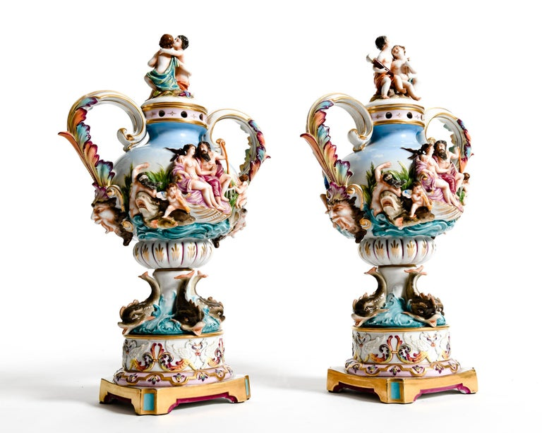 Pair Porcelain Covered Urns / Decorative Pieces For Sale 9