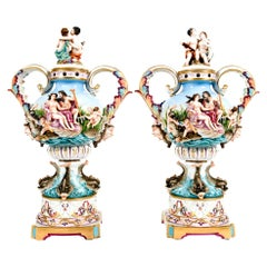 Pair Porcelain Covered Urns / Decorative Pieces
