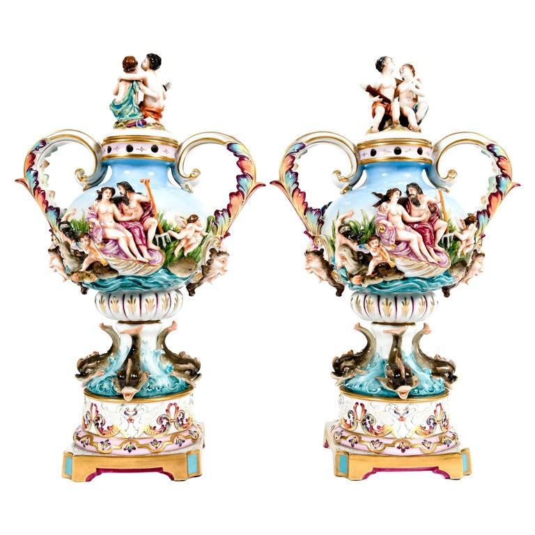 Pair Porcelain Covered Urns / Decorative Pieces For Sale