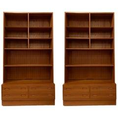 Pair Poul Hundevad Danish Modern Teak Bookcases Shelves, 4-Drawer Chest base