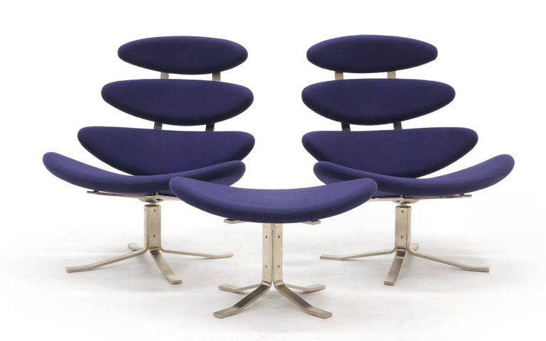 Pair of Poul Volther Corona chairs in excellent original condition. Set consists of two swivel chairs and one ottoman.
