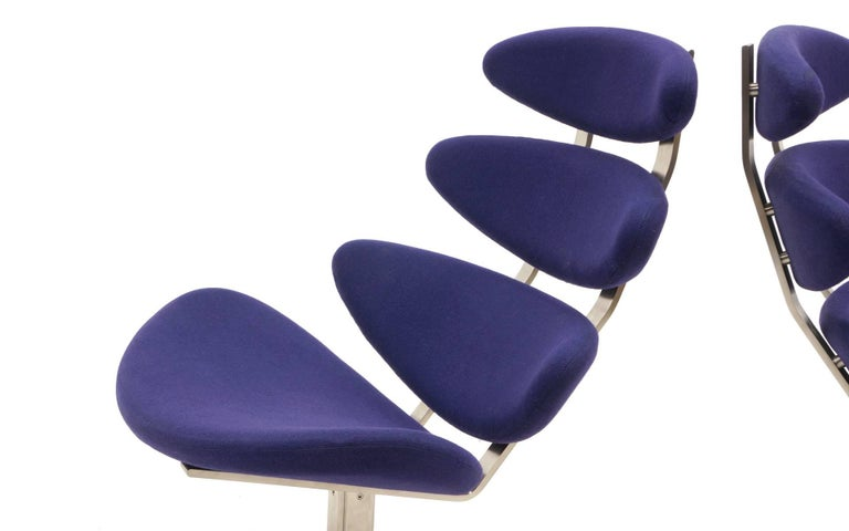 Danish Pair Poul Volther Corona Chairs with Ottoman, Deep Blue Fabric and Solid Steel For Sale