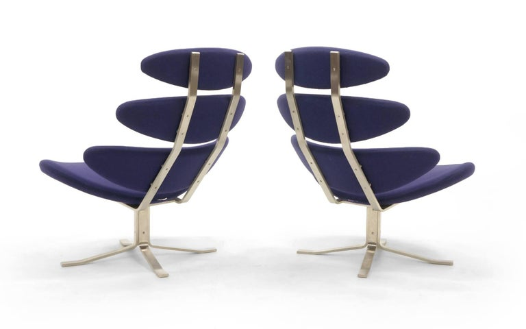 Mid-20th Century Pair Poul Volther Corona Chairs with Ottoman, Deep Blue Fabric and Solid Steel For Sale
