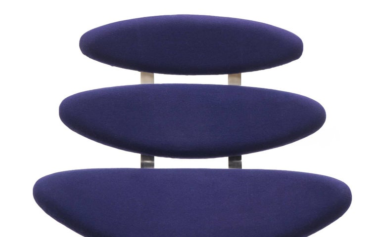 Pair Poul Volther Corona Chairs with Ottoman, Deep Blue Fabric and Solid Steel For Sale 1
