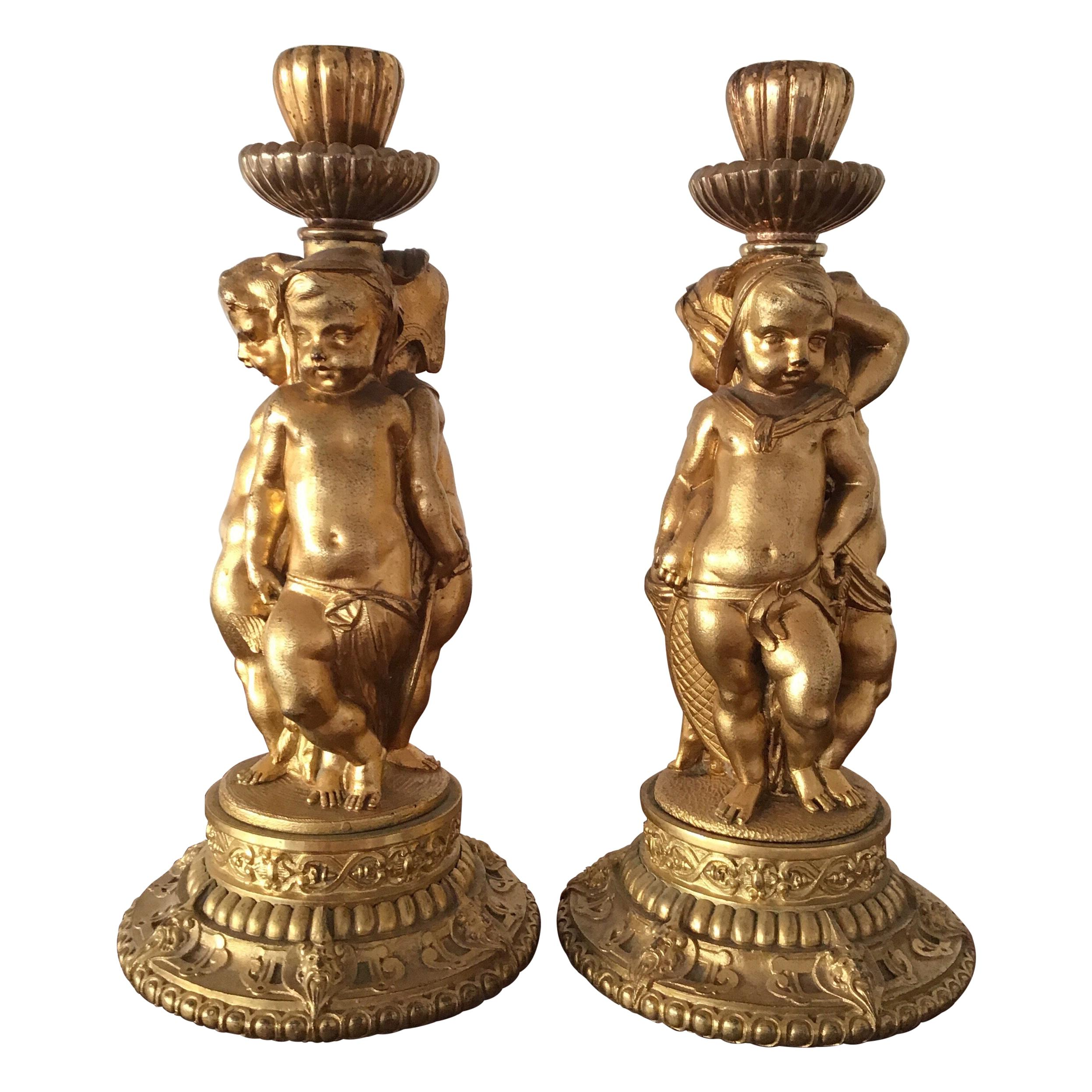 Pair of Wonderful Ormolu   Candlesticks
