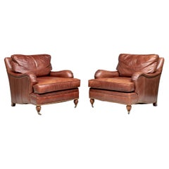 Pair Quality Brown Leather Club Chairs by Century