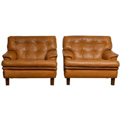 "Pair of Quilted Buffalo Leather ""Merkur"" Chairs by Arne Norell A.B. Sweden 1960s"