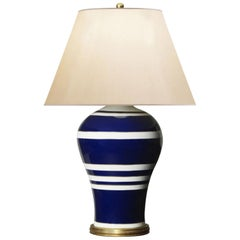 Pair of Ralph Lauren Table Lamp Glazed Porcelain Blue and White in Modern Style