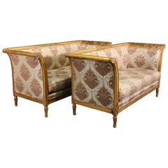 Pair Rare Italian Carved Griffin Directoire Genuine Gold Leaf Settee Sofas C1960