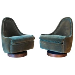 Pair of Rare Signed Thayer Coggin Milo Baughman Designed Child's Swivel Chairs