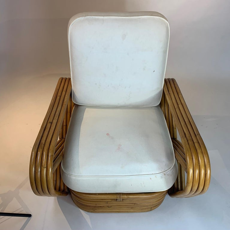Pair of Rattan 1940s Paul Frankl Style Pretzel Chairs with Ottoman from Japan For Sale 4